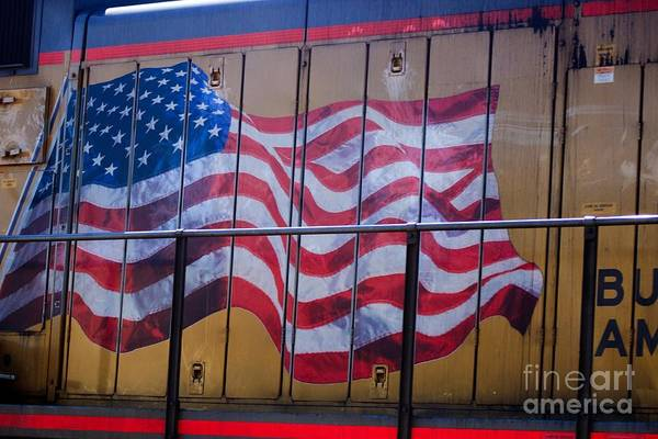 Us Flag On Side Of Freight Engine Poster
