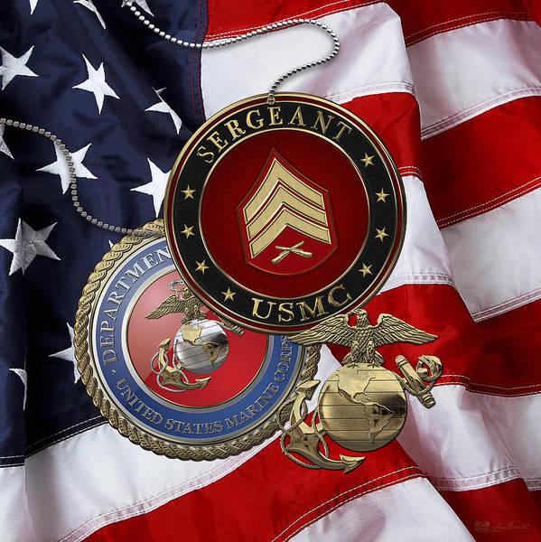 U. S. Marines Sergeant - U S M C Sgt Rank Insignia Over American Flag Poster