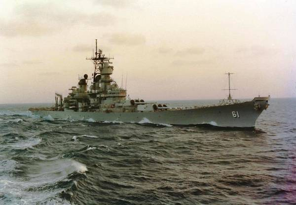 Uss Iowa At Sea In The Indian Ocean Poster