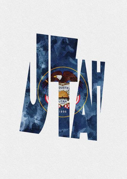 Utah Typographic Map Flag Poster