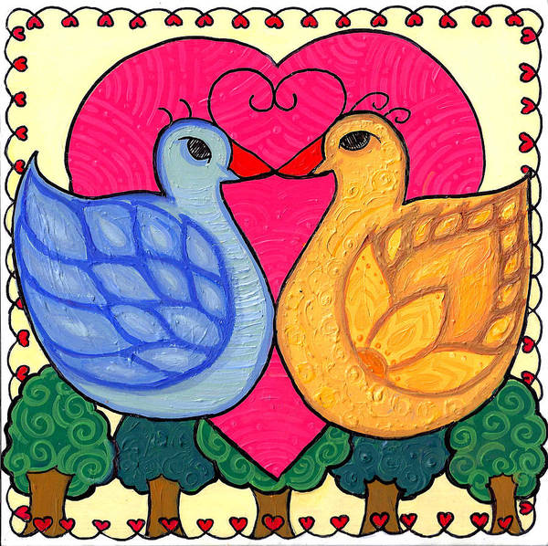 Poster featuring the painting Valentine Birds by Caroline Sainis