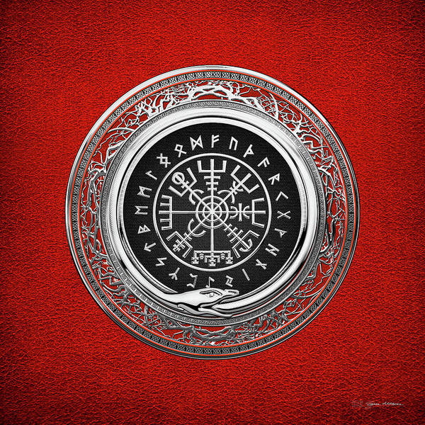 Vegvisir - A Silver Magic Viking Runic Compass On Red Leather  Poster
