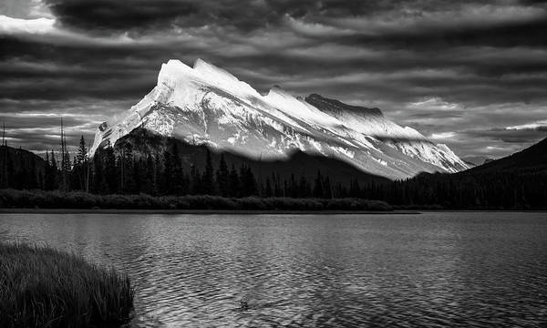 Vermillion Lakes And Mt Rundle Bw Poster