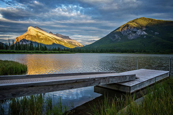Vermillion Lakes And Mt Rundle Sunset Poster
