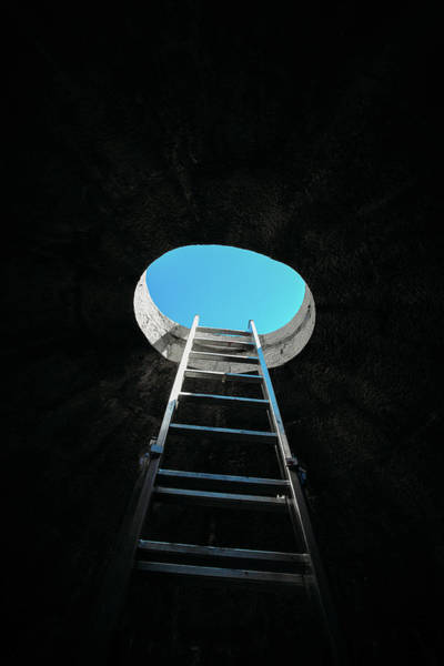 Vertical Step-ladder On Ceiling Window  Poster