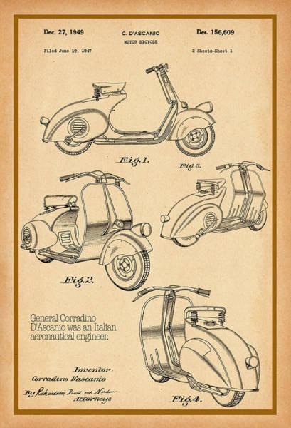 Vespa Patent Drawing Poster
