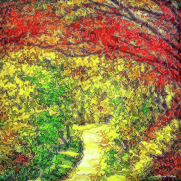 Vibrant Garden Pathway - Santa Monica Mountains Trail Poster