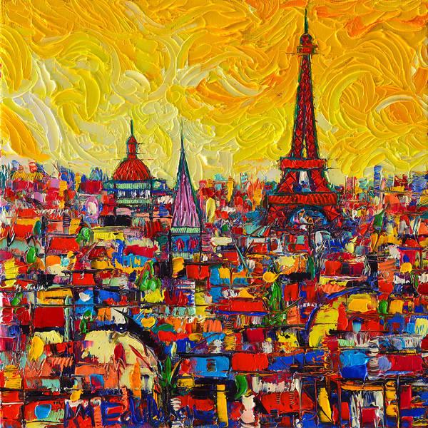 Vibrant Paris Abstract Cityscape Impasto Modern Impressionist Palette Knife Oil Ana Maria Edulescu Poster