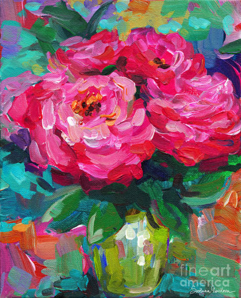 Vibrant Peony Flowers In A Vase Still Life Painting Poster