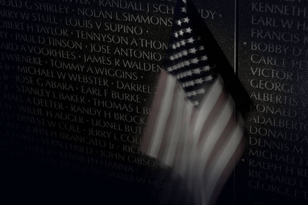 Vietnam Memrial Wall With Us Flag Poster