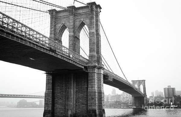 View Brooklyn Bridge With Foggy City In The Background Poster