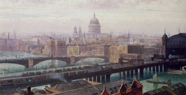 View Of London Showing St Paul's And Canon Street Station From Southwark Bridge Poster