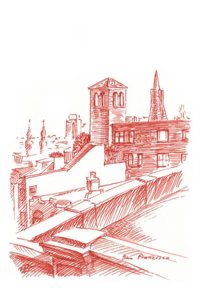 View Of Transamerica Pyramid Through Chestnut Street Poster
