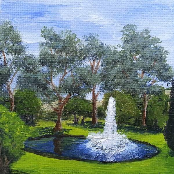 Village Fountain Poster