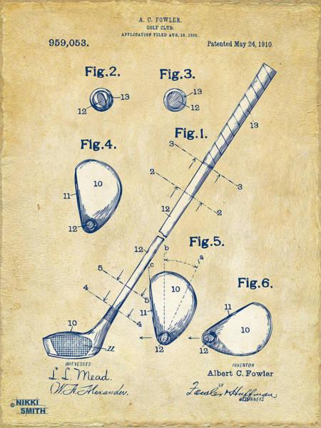 Vintage 1910 Golf Club Patent Artwork Poster
