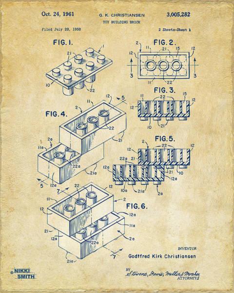 Vintage 1961 Toy Building Brick Patent Art Poster