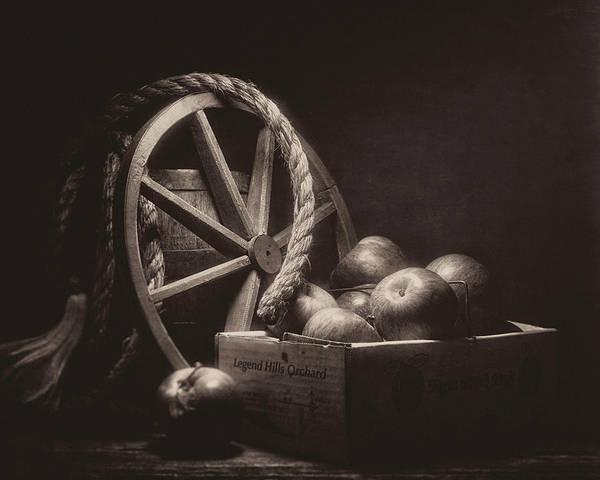 Vintage Apple Basket Still Life Poster