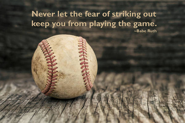 Vintage Baseball Babe Ruth Quote Poster