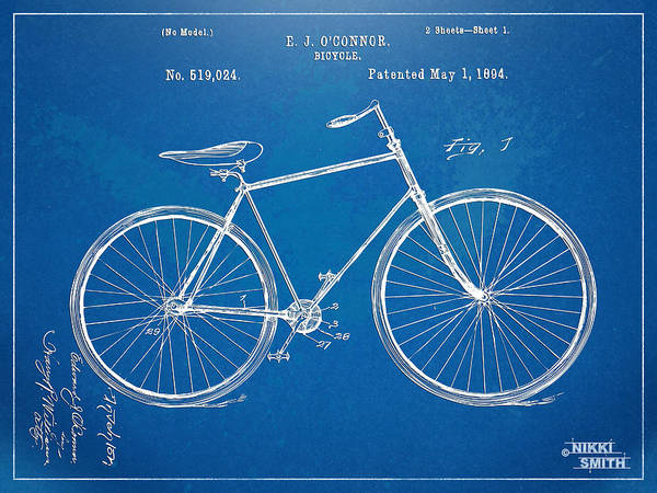 Vintage Bicycle Patent Artwork 1894 Poster