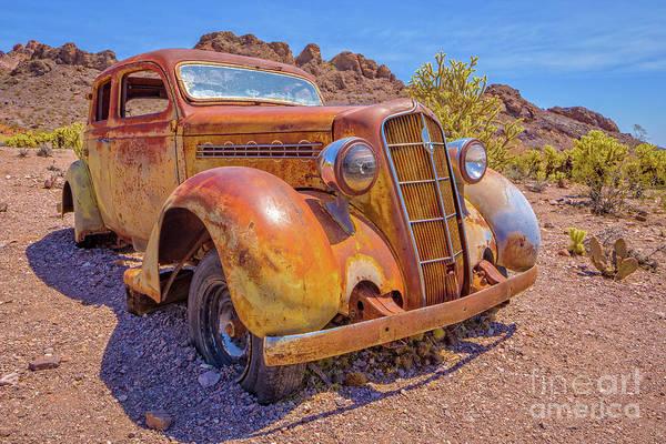 Vintage Car In The Desert Hdr Poster