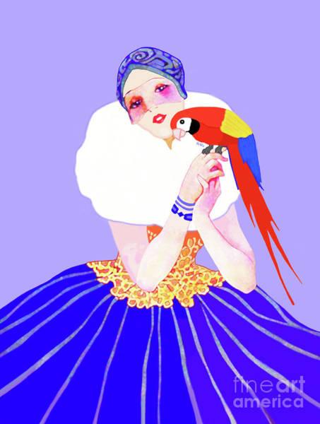 Vintage Dancer With Parrot Poster