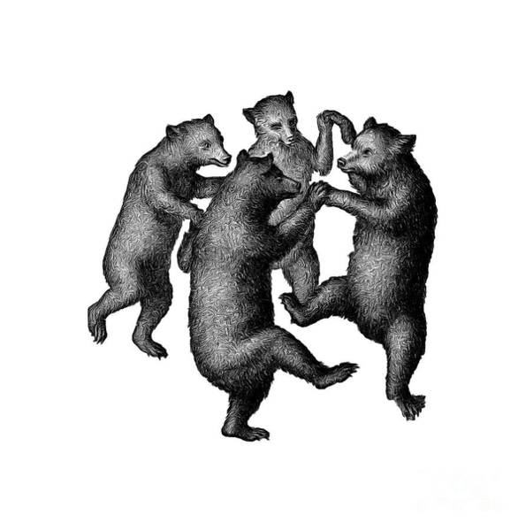 Poster featuring the drawing Vintage Dancing Bears by Edward Fielding