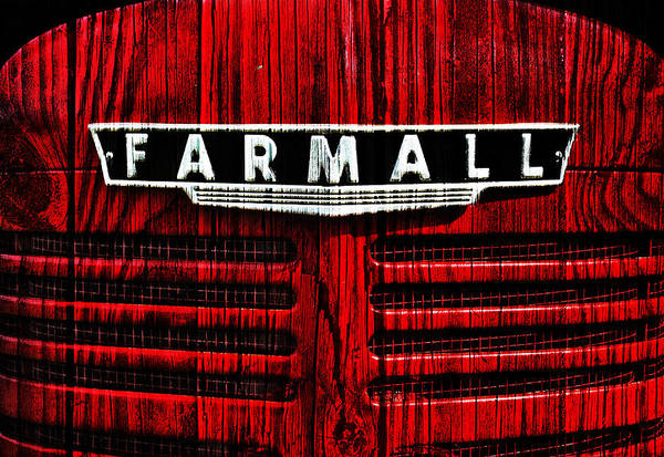 Vintage Farmall Red Tractor With Wood Grain Poster