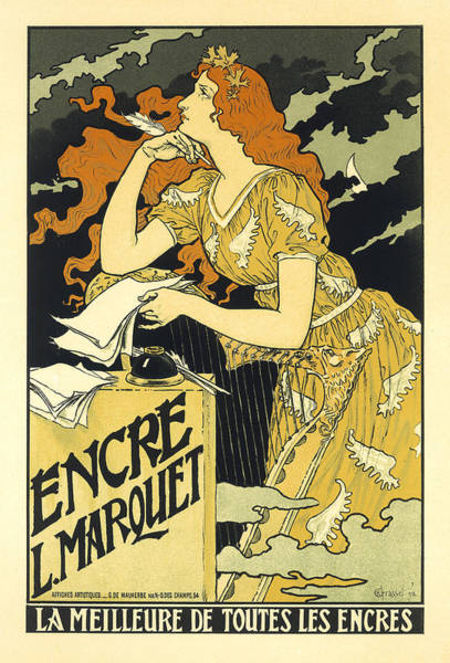 Vintage French Advertising Art Nouveau Encre L'marquet Poster