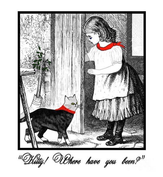 Vintage Girl Lets In Her Gray Cat Poster