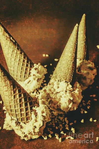 Vintage Ice Cream Cones Still Life Poster