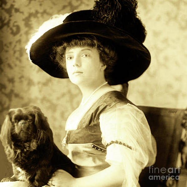Vintage Lady With Lapdog Poster
