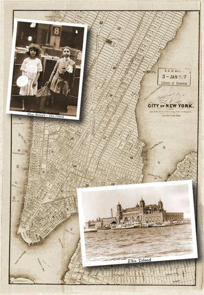 Vintage Map Ellis Island Immigrants Poster