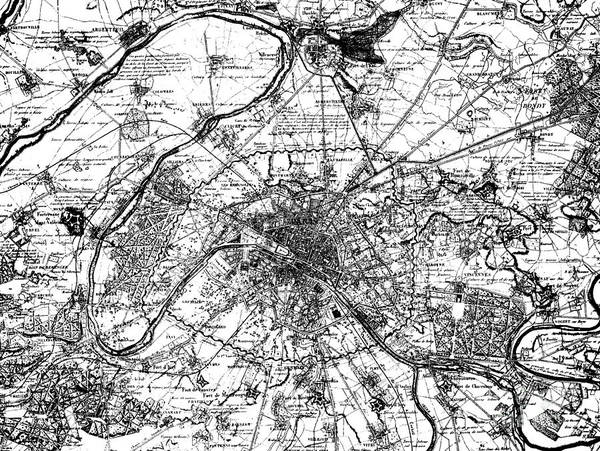 Vintage Map Of Paris And The Outskirts In 1840 Poster