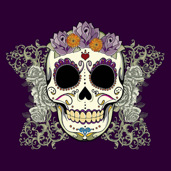 Vintage Sugar Skull And Flowers Poster