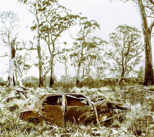 Vintage Winter Car Wreck Poster