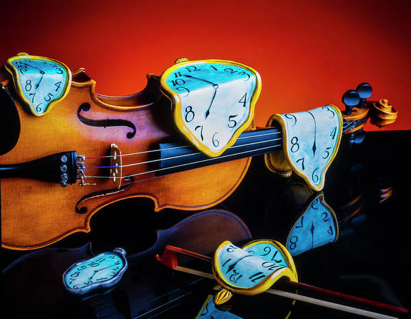 Violin With Melted Watches Poster