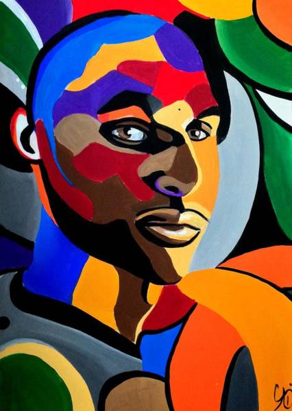 Visionaire Male Abstract Portrait Painting Chromatic Abstract Artwork Poster
