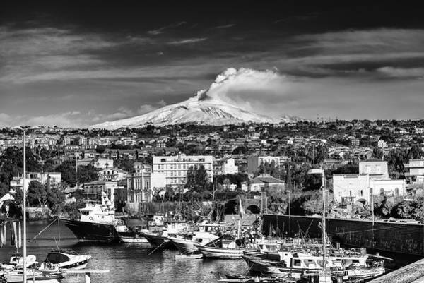 Poster featuring the photograph Volcano Etna Seen From Catania - Sicily. by Mirko Chessari