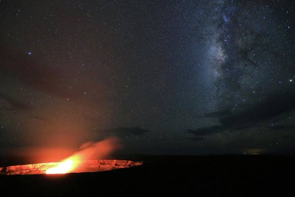 Volcano Under The Milky Way Poster