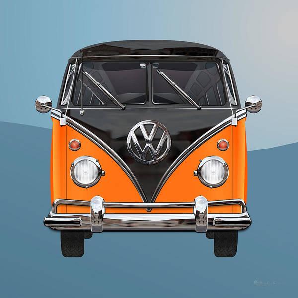 Volkswagen Type 2 - Black And Orange Volkswagen T 1 Samba Bus Over Blue Poster