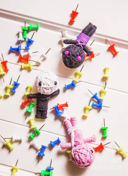 Voodoo Dolls Surrounded By Colorful Thumbtacks Poster