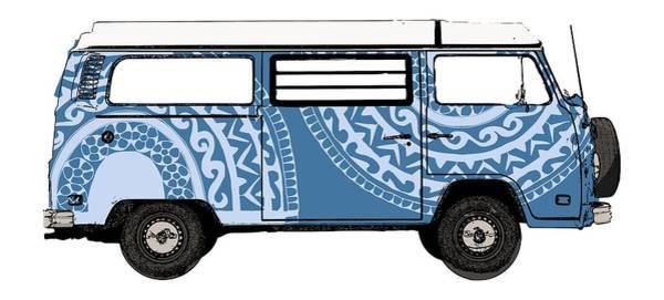 Vw Blue Van Poster