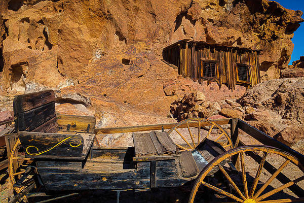Wagon And Miners Hut Poster