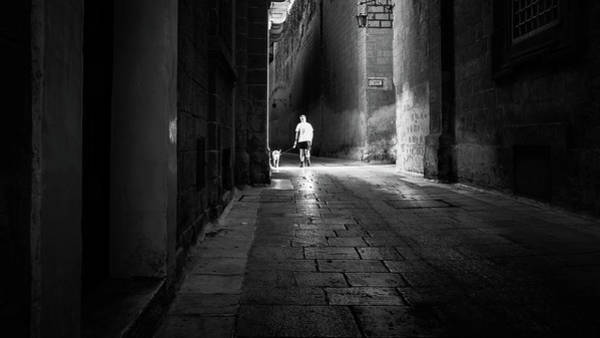 Walking The Dog - Mdina, Malta - Black And White Street Photography Poster