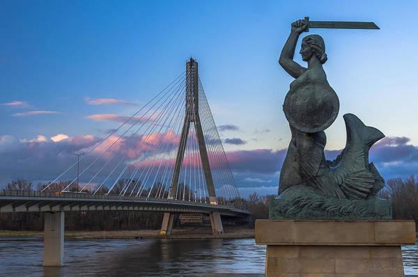 Warsaw Mermaid And Swiatokrzyski Bridge On Vistula Poster
