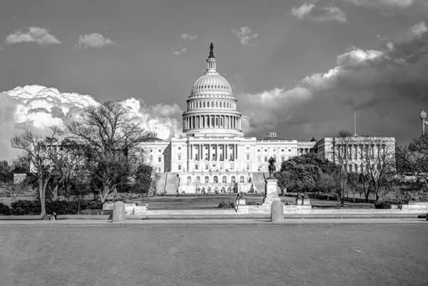 Washington Dc Capitol Building - Black And White Poster