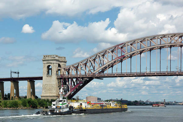 Hell Gate Bridge And Barge Poster