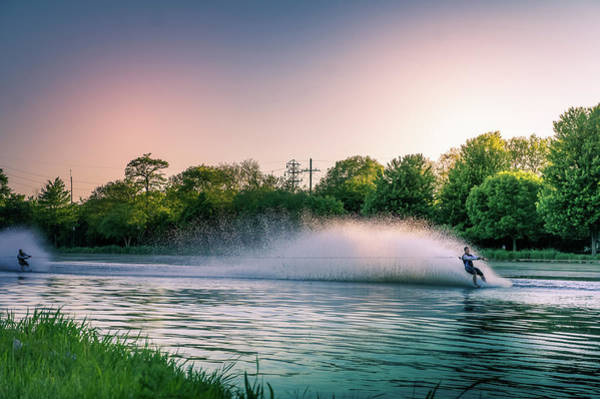 Water Skier At Sunset Poster