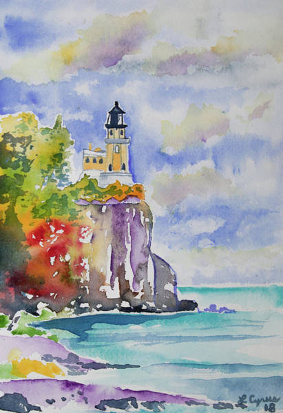 Watercolor - Autumn At Split Rock Lighthouse Poster