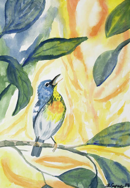 Watercolor - Northern Parula In Song Poster